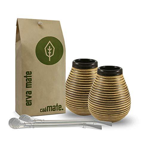 caámate. Mate Tee Set für Zwei | 2X Keramik+2X Bombilla + Bio Matetee 400g