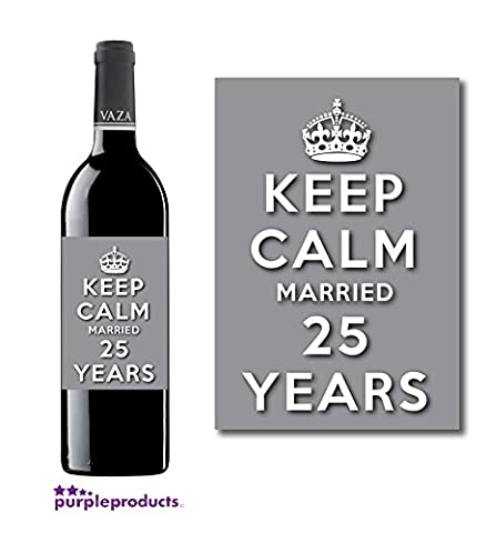 Keep Calm 25th Silver Wedding Anniversary Wine bottle label Celebration