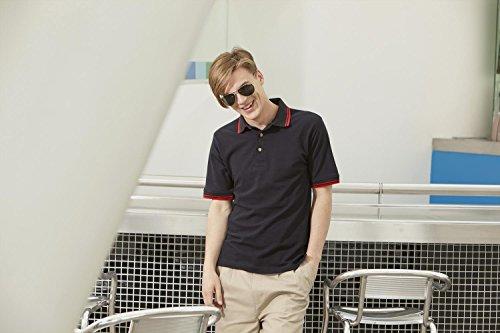 Henbury gespitzte Kragen- und Manschetten Polo-Hemd Navy Red tipping