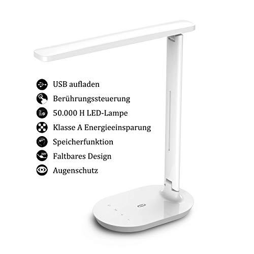 TaoTronics Schreibtischlampe LED, Memory Funktion Tischlampe, 3 Farb und 5 Helligkeitsstufen Dimmbar Tischleuchte mit Touchbedienung, Tragbar, Augenschutz für Büro, Lesen, Studieren (Generalüberholt)