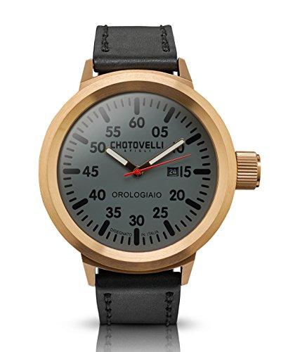 Chotovelli große Fliegeruhr -Herren Armbanduhren -Saphirglas -schwarzes Leder 747.4