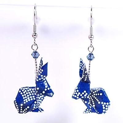 Boucles d'oreilles lapins origami bleus avec des petits points blancs - crochets inox