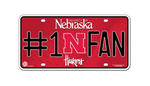 Rico NCAA Nebraska Cornhuskers #1 Fan Metal Auto Tag