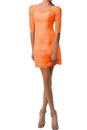 Ivydressing Modisch Rund Neu Damen Spitze Cocktail Minikleider Partykleider Abendmode Orange