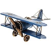 Sharplace Modelo de Avión Biplano Metal Estaño Juguetes Coleccionables Decoración Casera - 21*22*9.5cm - Azul