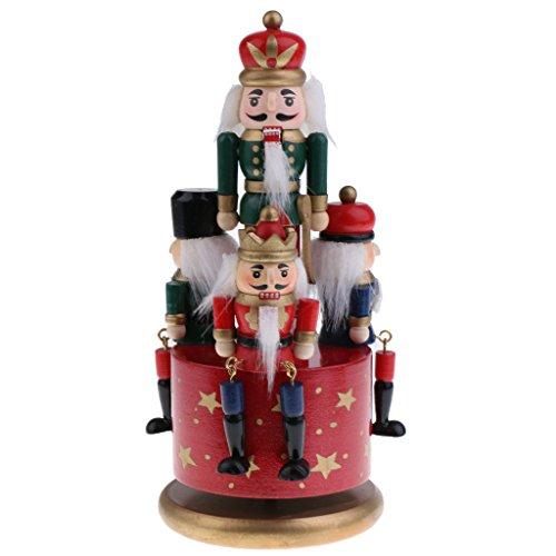 Sharplace Boîte à Musique Forme Casse-Noisette en Bois Figurine 4 Soldats Multicolore Objets de Collection Cadeau Anniversaire Noël Fête pour Enfant Famille Amis - Base Rouge