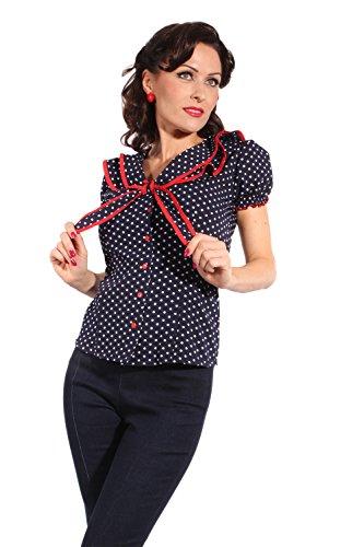 36920de215f5a ... retro Style Polka Dots Rockabilly Puffärmel Schleife retro Shirt Bluse  ...
