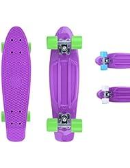 City ridertm Skateboard Lila de Original Mini Cruiser–22Pulgadas/57cm–Retro Skateboards para niños y niñas Violett/Grün