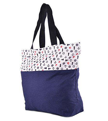 Damen Tasche Vronie Sailor Anchor Anker Canvas Shopper Blau Dunkelblau