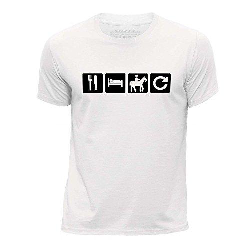 STUFF4 Ragazzi/Età 5-6 (110-116cm)/Bianco/Girocollo T-Shirt/Mangiare Sonno Cavalcata/Equitazione Ripetizione (Cavalcata Icona)