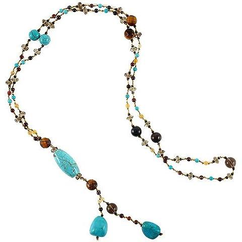 Auténtica Turquesa piedras y diseño con cuentas de cristal y gota largo collar, 26cm