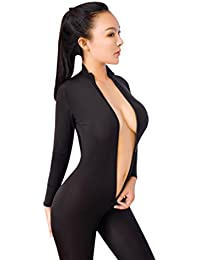 85a6255d54d60 HARRYSTORE Women Open Crotch Bodystockings Perspective Underwear Fishnet  Pajama Full Zip Jumpsuit