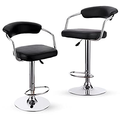 IKAYAA 2PCS/Set of 2 Pneumatic Height Adjustable Swivel Bar Stools Chairs PU Leather Pub Counter Barstools Kitchen Dinning Chair with Intertek & SGS Testing Report - low-cost UK light store.