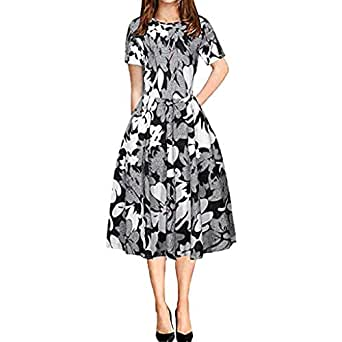Cramberdy ️ Sommerkleid Damen Lang Rockabilly Kleider ...