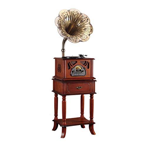 ZXCV Grammofono fonografo Retro Dischi in Vinile Grande Corno Antico Vecchio Stile Giradischi Stile Europeo Classico Decorazione LP Suono,Brown
