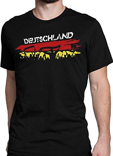 vanVerden Unisex T-Shirt XS-5XL Deutschland Fußball Trikot Public Viewing / wm em, Color:Schwarz, Größe:L (Us-fußball-wm)