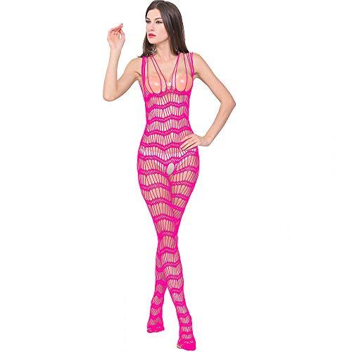 ODJOY-FAN Siamese Dessous Frau Öffnen Gabelung Perspektive Unterwäsche Schlafanzug Siamese Net Kleidung Schlinge Onesies Sexy Erotic Reizwäsche (Heiß Rosa,1 PC)