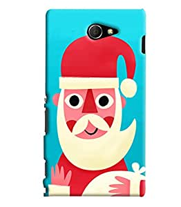 Blue Throat Santaclause Face Printed Designer Back Cover For Sony Xperia M2