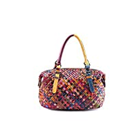 OPJKZSA Women Handmade Bags Handbag Colorful Patchwork Genuine Leather Woven Bag Knitted Real Leather Tote Bag,9058 Colorful,One Size