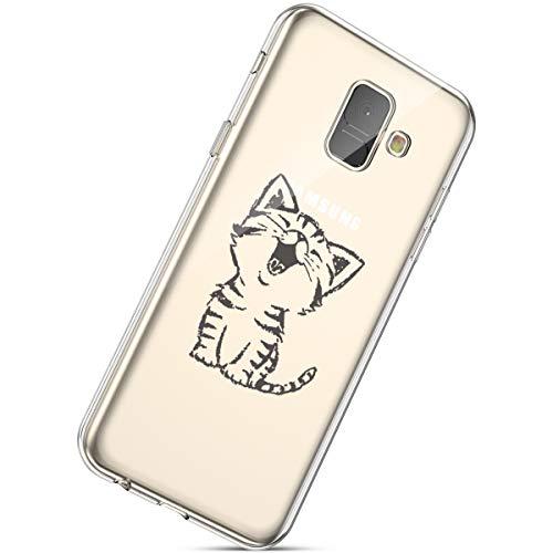 Handyhülle Samsung Galaxy A8 2018 Durchsichtig Silikon Schutzhülle Kratzfeste Kristall Transparent Silikonhülle Ultra Dünn Case Handytasche TPU Bumper Backcover Schale Etui,Katze