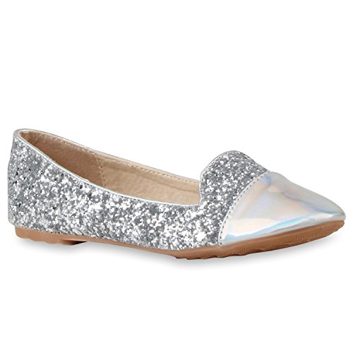 Damen Slipper Pop Art Loafers Flats Schuhe Prints Lederoptik Silber Lack Glitzer