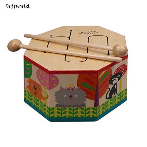 LouiseEvel215 Orff Welt Cartoon hölzerne Hand Trommel Schlagen Montessori Instrument mit DREI Ton Geschenk für Baby Kind Kind Anfänger SYG (S) (Hölzerne Trommel)