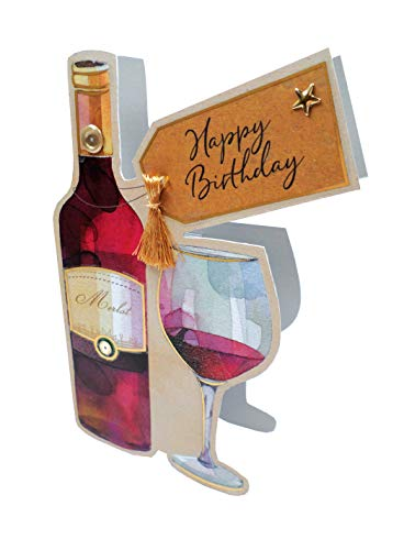 Red Wine & Glass 3D Paper Dazzle Birthday Greeting Card Glitter Finished
