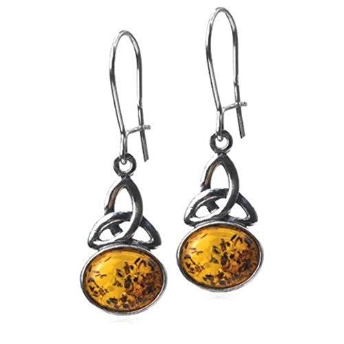Noda - Orecchini Ovali Celtica Miele Ambra Argento Sterling , Colore: Arancione, cod. 22052