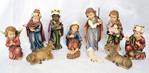 San Francis Imports 11 Piece Colorful Childrens Christmas Nativity Set Holiday Decoration 5-zoll-mule