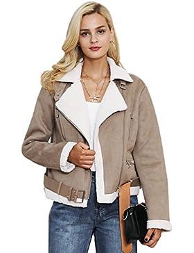 Simplee ropa mujer chaqueta de gamuza forrada de piel de cordero Aviator Coat outerwear shearling