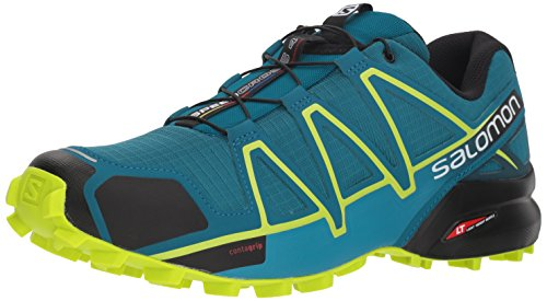 Salomon Speedcross 4, Scarpe da Trail Running Uomo, Multicolore (Deep Lagoon/Acid Lime/Reflecting Po 000), 46 2/3 EU