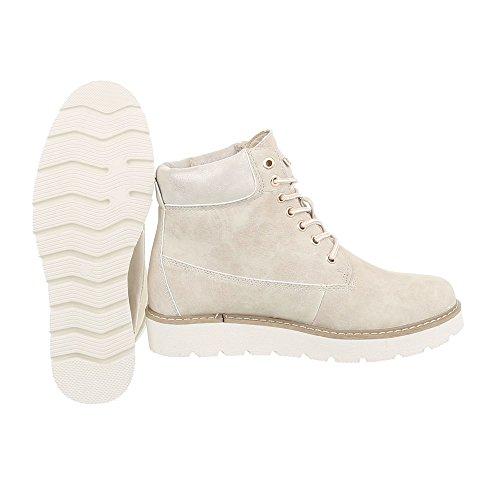 Schnürstiefeletten Damenschuhe Schnürstiefeletten Schnürer Schnürsenkel Ital-Design Stiefeletten Beige 560-PA
