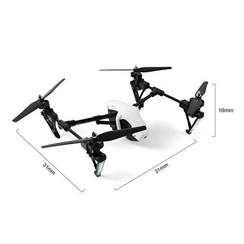 Wltoys Q333A FPV Drohne mit Kamera und Bildschirm 5.8G Live Übertragung Monitor 720P Cam Headless Modus für Erfahrener, mit 4G Speicherkarte, Garantie, 2 Akkus, Deutsche Anleitung, Weiß - 5