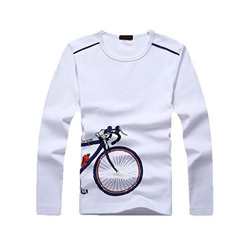 Jungen Tops Langarm T-Shirt Kids Basic Bluse Baumwolle Sweatshirt Rundhalsausschnitt Uniform Tee Jungen Mädchen Kleidung Gr. 8 Jahre, weiß