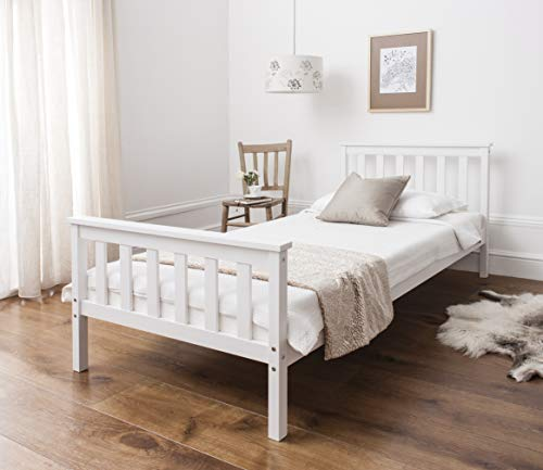 Noa and Nani - Dorset 3ft Single Bed with Wooden Frame - (White)