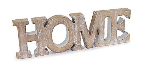 Deko Holzaufsteller Schriftzug HOME englisch 40×13 cm aus Holz Vintage Look natur braun, Dekofigur Aufsteller Dekoschild modern