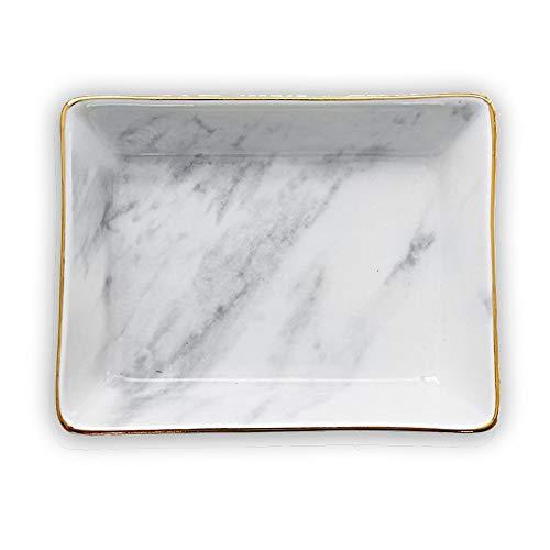 Marmor Keramik Schmuckablage Ring Dish Ring Halter Display Organizer mit Golden Edged Hochzeit Valentinstag Housewarminggeschenk (Grey (Small))