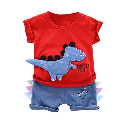 TTLOVE_Baby Kleidung Set, 2 stücke Kleinkind Kinder Baby Jungen Sweatshirt Cartoon Dinosaurier Pullover Kurzarm Tops + Kurz Hose Hosen Outfits Kleidung(rot,90 cm,12-18 Monate)