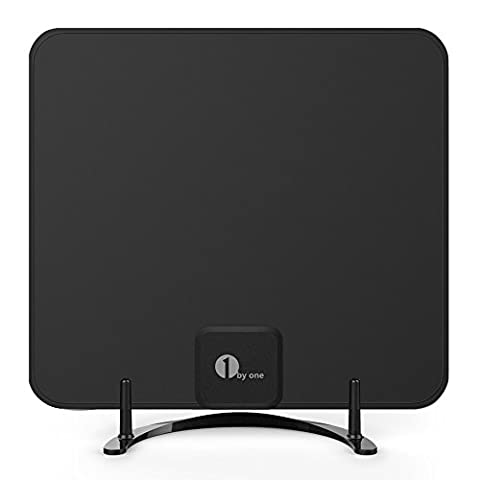 1byone Freeview TV Aerial with Stand - HDTV Antenna with Excellent Performance for Digital Freeview and Analog TV Signals, Indoor Digital TV Aerial for VHF / UHF / FM, Soft Design