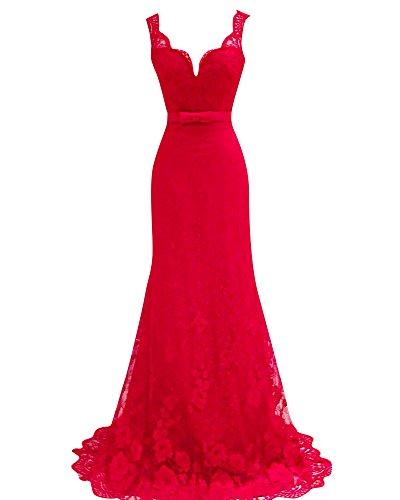 SaiDeng Vestidos Para Mujer Vintage Coctel V Cuello Fiesta Para Bodas Largos De Noche Ceremonia Ropa Rojo M