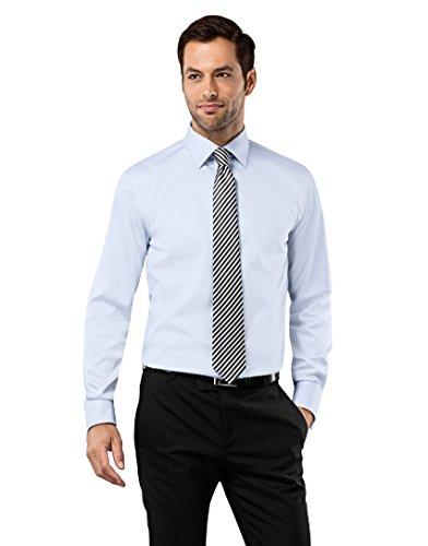 Vincenzo Boretti Herren-Hemd Bügelfrei 100% Baumwolle Umschlagmanschette Regular-Fit Uni-Farben - Männer Lang-Arm Hemden für Anzug mit Krawatte Business Hochzeit Eisblau 45/46 (Krawatte Fit)