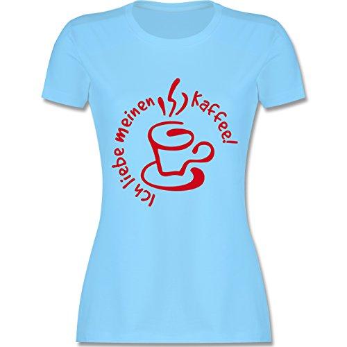 Küche - Ich liebe meinen Kaffee - tailliertes Premium T-Shirt mit Rundhalsausschnitt für Damen Hellblau