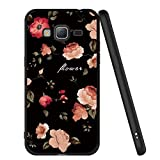 ZhuoFan Coque Samsung Galaxy J3 2016, Etui en Silicone Noir avec Motif 3D Fun Fantaisie Dessin Antichoc TPU Gel Housse de Protection Case Cover Coque pour Téléphone SamsungJ3 SM-J320fn, Fleurs