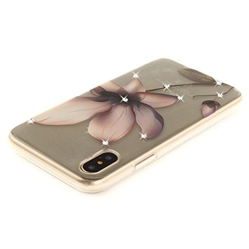 Per iPhone X,Sunrive® Custodia Cover Case in molle Trasparente Bling Glitter Strass Ultra Sottile TPU silicone Morbida Flessibile Pelle Antigraffio protettiva(occhio) magnolia