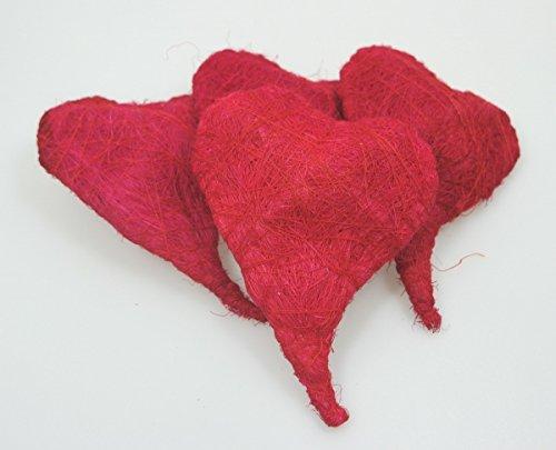 wertheim-deko 4 geschwungene Deko-Herzen aus Sisal Sisalherzen rot ca. 14 cm Hochzeit