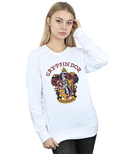 Harry Potter Damen Gryffindor Crest Sweatshirt Weiß Small Crest Pullover Sweatshirts