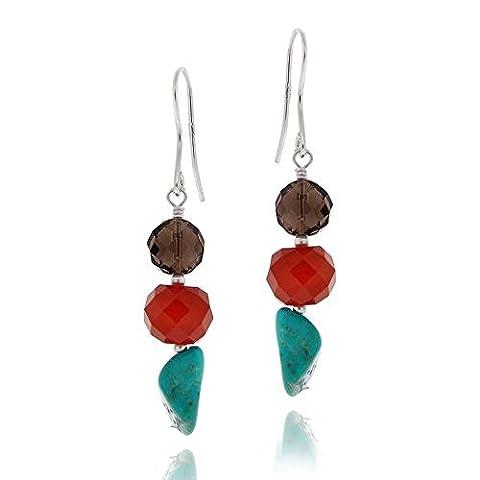 Boucles d'oreilles en argent sterling, pépites pendants en quartz fumé, cornaline et turquoise créée