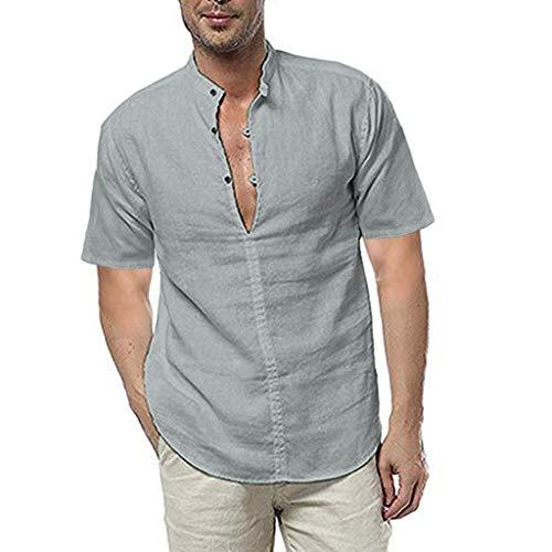 ZHANSANFM Herren Leinenhemd Unifarben T-Shirt Henley Freizeithemd Button Down Basic Kurzarm Tops Einfach Bequem Figurbetont XL Grau (Grau Chambray Bettwäsche)