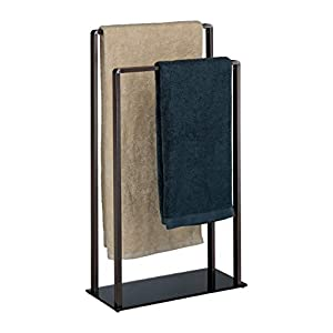 Relaxdays Toallero de Pie con 2 Barras, Metal-Cristal, Bronce-Negro, 80 x 45 x 20 cm