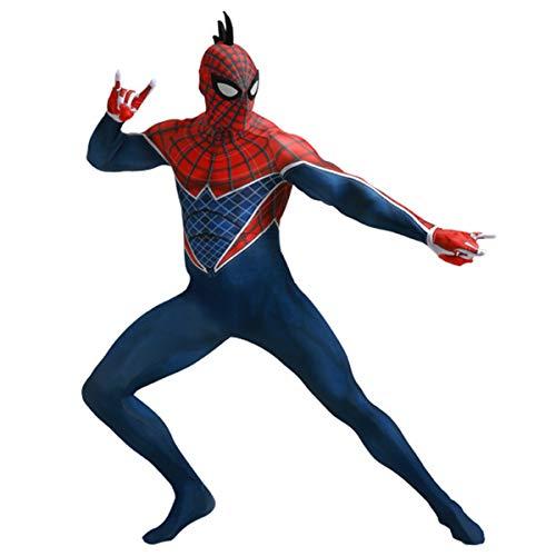 QQWE Spider-Man in die Spinne-Vers Cosplay Kostüm Punk Spiderman Kostüm Rollenspiel Bodysuit Spandex Jumpsuits,Male -L